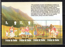 Tristan Da Cunha - 1984. Lavorazione Della Lana. Wool Processing. MNH Block With Description. - Professioni