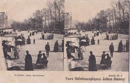 PARIS JARDIN DES TUILERIES  VUES STEREOSCOPIQUESS JULIEN DAMOY SERIE N.1 AUTENTICA 100% - Cartoline Stereoscopiche