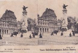 PARIS MONUMENT DE GAMBETTA  VUES STEREOSCOPIQUESS JULIEN DAMOY SERIE N.1 AUTENTICA 100% - Cartoline Stereoscopiche