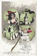 Viel Glück Im Neuen Jahr - 1903 - Kleeblatt Champagner Glockenturm Pierrot Gevatter Tod Father Time Grim Reaper - New Year