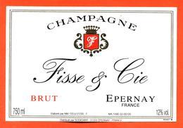 étiquette De Champagne Brut Fisse Et Cie à épernay - 75 Cl - Champagne