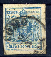 LOMBARDY VENETIA 1854-57 Arms 45 Cmi. Machine Paper, Used.  Michel 5Y - 1850-1918 Empire