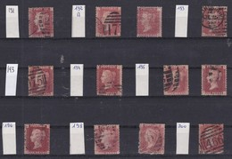 GB - 1858-1864 - Queen Victoria - SG 38 - YT 26 - Lot Of 12 ONE Penny Red - 4 Large Letters -  Plate Numbers 191 To 200 - 1840-1901 (Victoria)