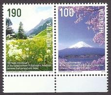 Switzerland / Suisse / Schweiz 2014 - 150 Years Diplomatic Relations With Japan, Samnaun Valley, Fuji Volcano MNH - Neufs
