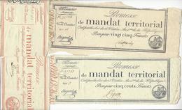 3 MANDATS TERRITORIAUX 25 FRANCS + 100 FRANCS + 500 FRANCS /FREE SHIPPING REGISTERED - Assignats