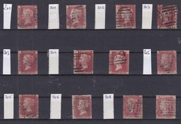 GB - 1858-1864 - Queen Victoria - SG 38 - YT 26 - Lot Of 12 ONE Penny Red - 4 Large Letters -  Plate Numbers 200 To 208 - 1840-1901 (Victoria)