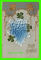 FLOWERS, FLEURS - GRAPPES DE FLEURS EMBOSSÉ - BEST WISHES - 3/4 BACK - - Fleurs
