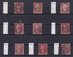 GB - 1858-1864 - Queen Victoria - SG 38 - YT 26 - Lot Of 9 ONE Penny Red - 4 Large Letters -  Plate Numbers 209 To 218 - 1840-1901 (Victoria)