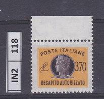ITALIA REPUBBLICA   1965Recapito Autorizzato L. 370 Nuovo - 1961-70:  Nuovi