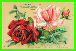 FLOWERS, FLEURS - ROSE...BEAUTY - SHE WORE A WREATH OF ROSES - EMBOSSED - ÉCRITE - - Fleurs