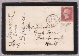 GB - 1858-1864 - 1 Penny Red  Queen Victoria  Mourning Letter From LEEDS To FARNBOROUGH - Transit Cancels At The Back - 1840-1901 (Victoria)
