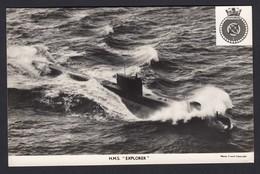 RPPC Modern Real Photo Postcard HMS Explorer Submarine Royal Navy Ship RP PC - Warships