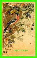 OISEAUX  QUI MANGE DES MÛRS - EMBOSSED ET CIRCULÉE EN 1907 - - Oiseaux