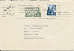 Spain Cover Sent To Denmark 15-12-1951 With Good Stamps - 1931-Today: 2nd Rep - ... Juan Carlos I