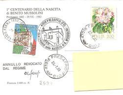 ITALIA - 1983 PREDAPPIO (FO) Cent. Nascita BENITO MUSSOLINI Finto Annullo + Erinnofilo + Timbro Su Cartolina Speciale - Seconda Guerra Mondiale