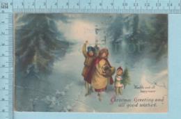 Carte Postale CPA - Christmas Greeting - Used Voyagé En 1921 + CND Timbre, Send To Melbourn Quebec - Cartes Postales