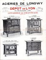 Double Feuillet De 4 P. Aciéries De Longwy, Appareils De Chauffage, Cuisinières, Faitout, Fourneaux, Gaufriers. - France