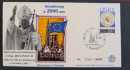 FRANCE - 1988 - CELEBRATION PAR LE PAPE JEAN PAUL II DU BIMILLENAIRE DE STRASBOURG - Poststempel (Einzelmarken)