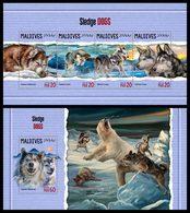 MALDIVES 2018 - Sledge Dogs - Mi 7283-6 + B1122 - Hunde