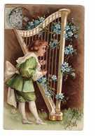 Carte Fantaisie Relief Gaufrée Embossed Cpa Enfant Garçon à La Harpe Fleur Fleurs Myosotis - Fantasia