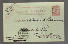AJJACIO POUR SCHAFFHAUSEN   1904 (Ajaccio Grand Hotel Continental) - Entiers Postaux