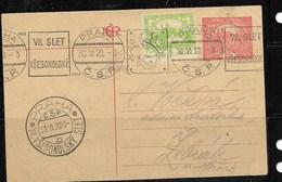 E562 -CZECHOSLOVAKIA-POSTCARD-1919-PRAG TOWER -USED POST - Cartes Postales