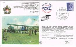 31724. Carta Fligth LONDON 1979. First Regular Commercial 60 Anniversary. Label Rond Airplain - 1952-.... (Elizabeth II)