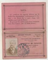 Certificat De Capacité Pour Conduite Automobiles à Pétrole. La Fère, Aisne 1900 - Vieux Papiers