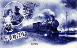 """CPA """"Un Bonjour De Belfort"""" - Sépia - Edition Azura. Circulée En 1925. Bon état. - Belfort - Ville"""