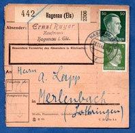 Colis Postal  /  Départ Haguenau / 11-11-43 - Allemagne