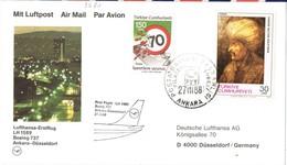 31728. Tarjeta Aerea First Fligth ANKARA (Turquia) - Dusseldorf. Boeing 727. Suleyman Stamp - Corréo Aéreo