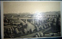 SUISSE VUE DE FRIBOURG PHOTOLITHOGRAVURE 1865 VUE GENERALE 10 X 6 Cm BEL ETAT - Guerra, Militari