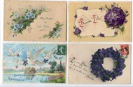 LOT 7 CP Fantaisies Thèmes Fleurs Diverses (1ère Genre Cellulo Fin?) Bonne Fête Colombes Violettes Pensées Dahlia Roses - Fantaisies