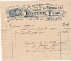 Suisse Facture Illustrée 21/9/1900 ROEDER Fils Fourrures GENEVE - Suisse