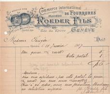 Suisse Facture Illustrée  15/1/1907 ROEDER Fils Fourrures ( Queue De Renard )  GENEVE - Suisse