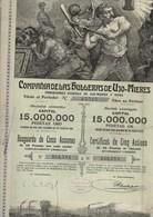 CERTIFICAT ILLUSTRE DE CINQ ACTIONS DE 25 PESETAS OR -MINES -COMPAGNIE DE LAS HULLERAS DE UJO - MIERES -1904 - Mines