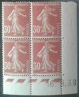 Semeuse 30 C. Rouge 360 En Bloc De 4 Coin Daté - 1906-38 Semeuse Camée