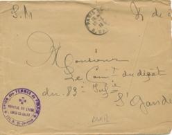 """Cachet """" HOPITAL DU LYCÉE LOUIS-LE-GRAND 123, R. ST Jacques """" Paris Croix-Rouge Sur Lettre Franchise - Marcophilie (Lettres)"""