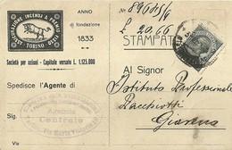 """2957 """" ASSICURAZIONE INCENDI A PREMIO FISSO-TORINO-SERVIZIO RISCOSSIONI-1° AVVISO """" CART. ORIG. SPED. - Commercio"""