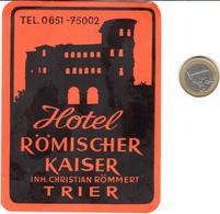 ETIQUETA DE HOTEL  - HOTEL RÖMISCHER KAISER  -TRIER  -ALEMANIA - Hotel Labels