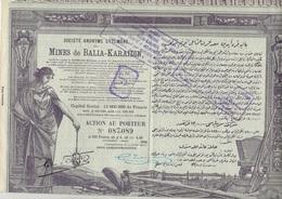 LOT DE 4 ACTIONS DE 100 FRS - SOCIETE OTTOMANE DES MINES DE BALIA - KARAIDIN -ANNEE 1913 - Mines