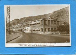 ADEN-steamer Point View Of National BANK Of INDIA--une Auto Devant -années 20+-30-éditAbassi - Yémen