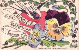 """CPA """"Une Pensée De Ma Garnison De LANGRES"""" - Colorisée - Circulée En 1923. Bon état. - Strasbourg"""