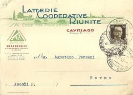 """2958 """" LATTERIE COOPERATIVE RIUNITE -CAVRIAGO (REGGIO EMILIA) """" CART. ORIG. SPED. - Commercio"""
