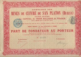 LOT DE 3 PARTS DE FONDATEUR - MINES DE CUIVRE DE SAN PLATON (HUELVA)- 1906 - Mines