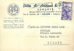 """2959 """" DITTA A. ANZANI & FIGLI-SEMENTI-MILANO - ALL'UFFICIO CONTRATTI ISTITUTO CASE POPOLARI MILANO """" CART. ORIG. SPED. - Negozi"""
