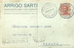 """2960 """" ARRIGO SARTI-RAPPRESENTANZE CON DEPOSITO-RAVENNA """" CART. ORIG. SPED. - Mercanti"""