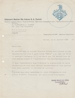 Suisse Lettre Illustrée 23/1/1958 Edouard MAHLER Négociants En Vin ZURICH - Suisse