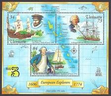 Vanuatu 1999 Explorers - Captain Cook, De Quiros, De Bougainville, Sailing Ships And Map Of The Islands MNH - Vanuatu (1980-...)