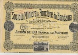 LOT DE 5 ACTIONS SOCIETE MINIERE ET FONCIERE DU BANDAMA -COTE D'IVOIRE - ANNEE 1919 - Mines
